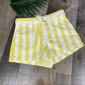 NEW GAP High Rise Striped Belted Shorts 4 Petite